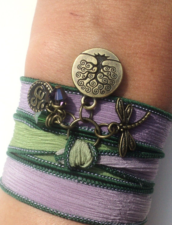 Bohemian Silk Wrap Bracelet Yoga Jewelry Purple Tree of Life Dragonfly Namaste Earthy Unique Gift For Her Stocking Stuffer Under 50 Item Z30