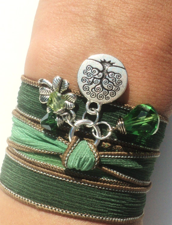 Tree of Life Silk Wrap Bracelet Yoga Jewelry Gift For Her Christmas Birthday Green Necklace Earthy Fall Unique Gift Under 50 Item Z46