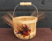 Autumn Wedding Flower Girl Basket, Fall Wedding Basket, Farmhouse Wedding Basket, Country Wedding Flower Girl Basket with Rustic Foliage