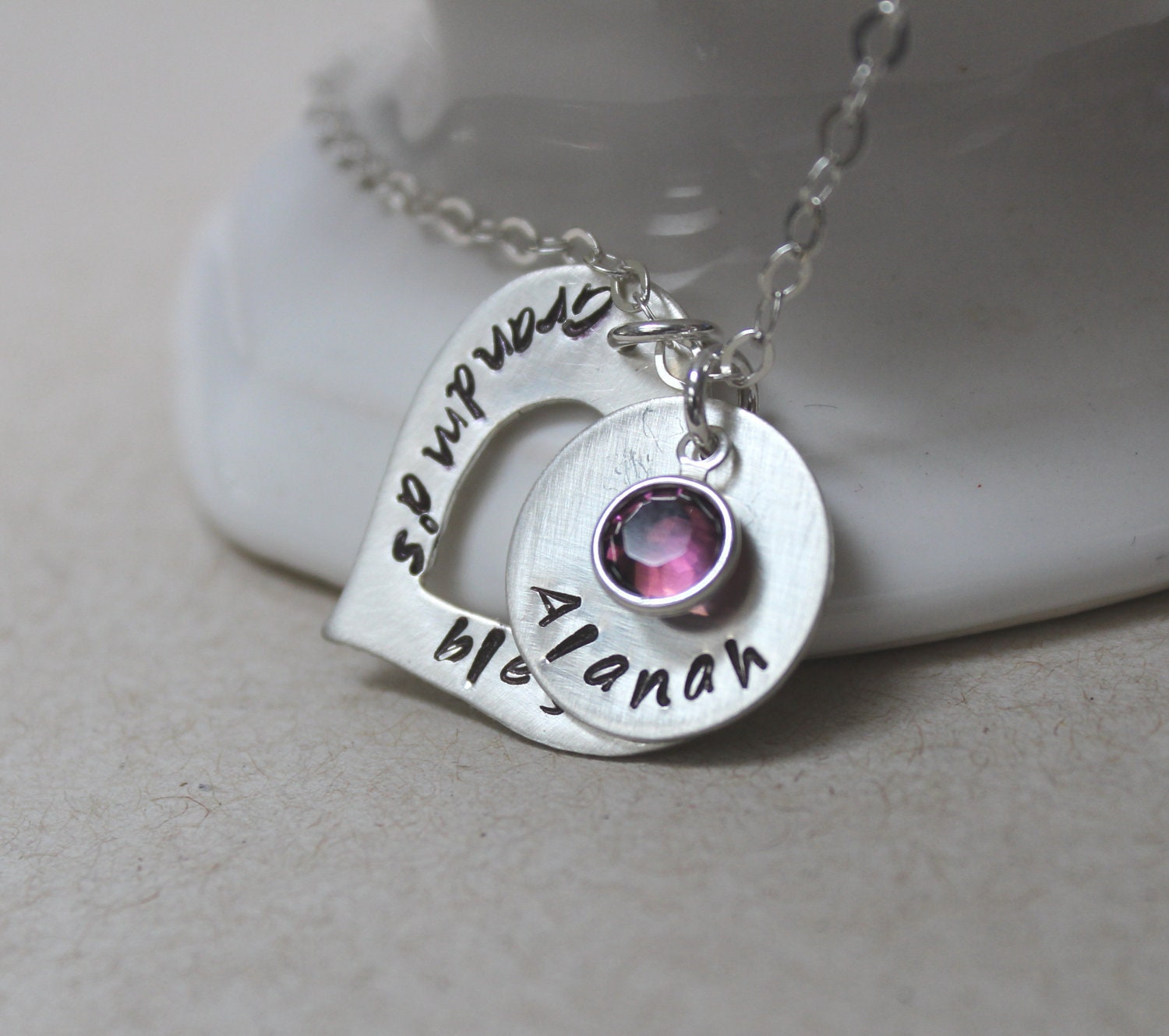 Grandmother necklace hand stamped grandmother jewelry mother for Grandmother jewelry you can add to