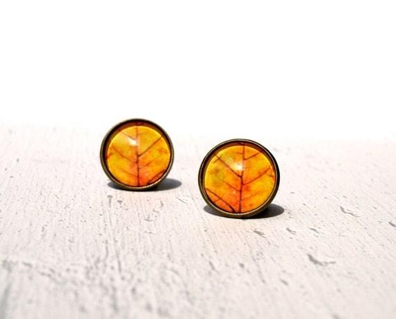 Orange leaf earrings POST - Spring jewelry - glass dome studs -