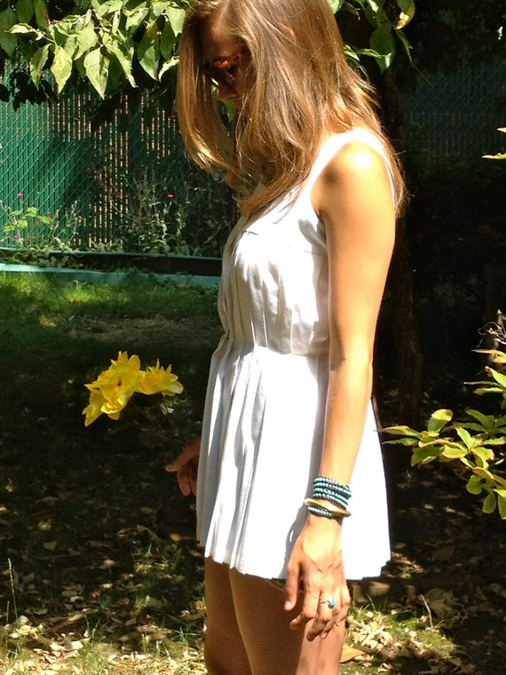 """Vintage """"Tip Top"""" Simply adorable pleated white tennis tank top tunic dress Sm-L"""
