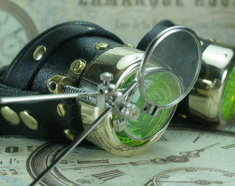 Steampunk, Goggles, black leather, brass, target etched eye pieces, two magnifying lenses
