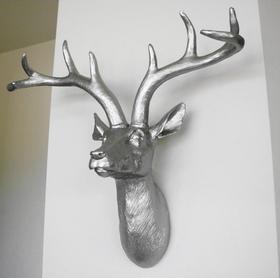 Platinum Deer Head Faux Taxidermy Stag Head Deer Wall
