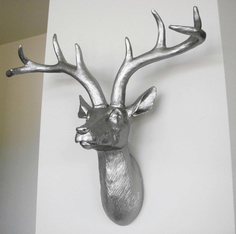 Platinum deer head faux taxidermy stag head deer by hodihomedecor - Decorative stags head ...