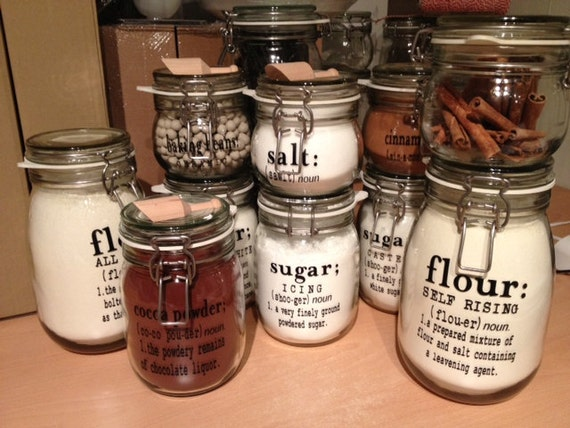 custom kitchen canister labels set of 6