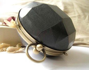 11cm Round Ball Dressing Case and Brass Bronze Metal Purse Frame with Round Ball Clasp Clip - 1pc