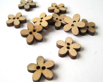 14mm Cute Wooden Plum Blossom Floral Sewing Button Sew-on Button Set - Pack of 50pcs