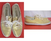 Reserved Vintage 1980 gold glitter sneakers - women size 8 - by Pacific Express