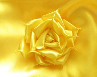 Yellow Satin Fabric /  1/2 yd x 60 in. / Yellow