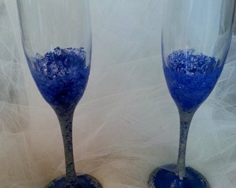 Handpainted Blue and Silver Champagne Glasses