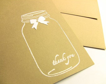 5 Wedding Thank You Cards, Wedding Thank Yous, Shower Thank Yous, General Thank Yous, Pearly Bow and Jar,  Customize Any Color