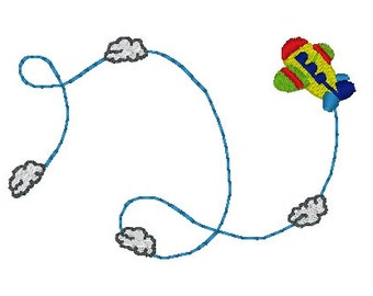 INSTANT DOWNLOAD - Swirling Plane Machine Embroidery Design