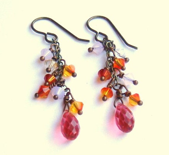Cluster Earrings Sunset Pink Jewelry Crystal And Niobium Earrings