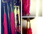 Fuschia Long Beaded Tassel Earrings