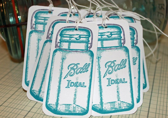 Ball canning aqua blue tag set of 9 with white twine