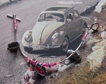 Pink Volkswagen Beetle and Bay Window Bracelet