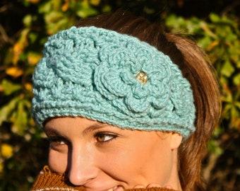 Crocheted Cable Twist Headband/Earwarmer - Mint