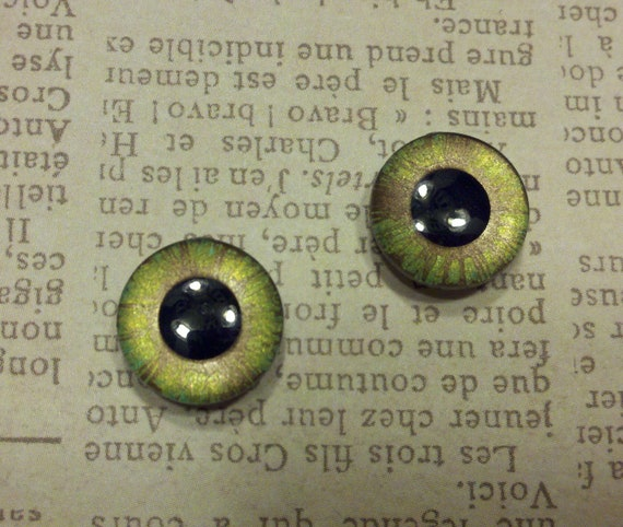 Blythe handpainted eyechips- the glimmers-hazel green & bronze
