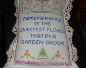 THIS ITEM is RESERVED   Antique Sampler Pillow With Cluny Lace Great Early Cross Stitch