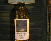 Shabby Chic and Whimsical Wine Bottle Lamp with Firefly Label decorative bottle