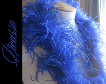 1ft (12inch) SAPPHIRE BLUE Curly Ostrich feathers marabou for curly ostrich puffs, hair clips, beanies, kufis, angel wings,