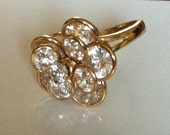 14K Gold Swarovski Crystal Flower Burst Ring - GREAT PRICE