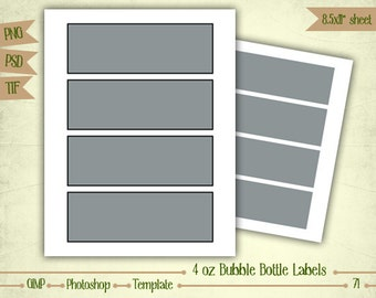 4 oz Bubble Bottle Labels - Digital Collage Sheet Layered Template - (T071)