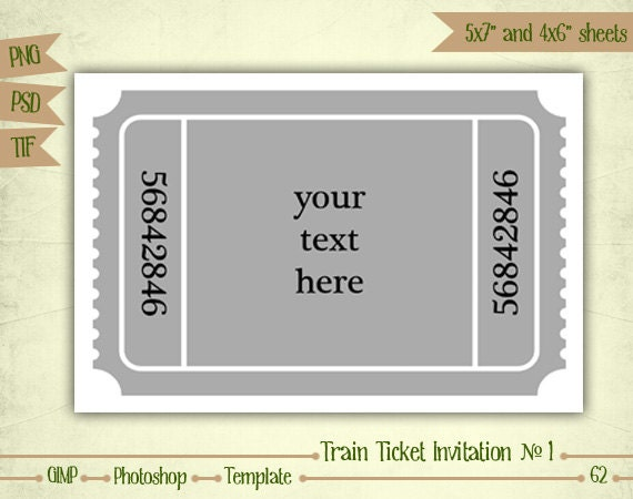train ticket template word - train ticket invitation n1 digital collage sheet layered
