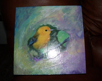 Yellow Finch Mixed Media