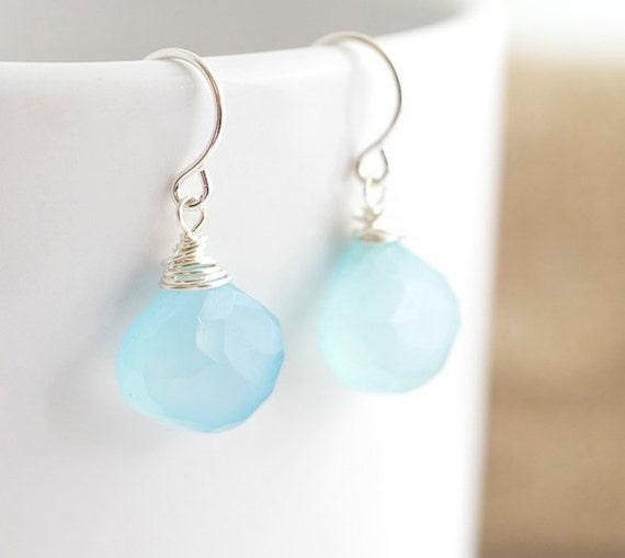 Blue Chalcedony Earrings - Wire Wrapped Earrings
