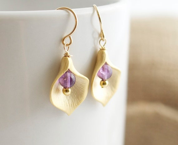 Amethyst Earrings - Calla Lilly Earrings