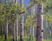 "Giclee print aspen oil painting impressionism ""Presiding Aspen"", 6 x 6"