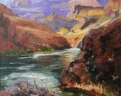 """Giclee Print of Original Grand Canyon oil painting impressionism """"Grand Canyon - Colorado River"""", 6 x 6"""