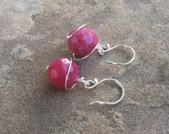 Ruby Jade Earrings Sterling Silver Saturn Orbit Wire Wrap