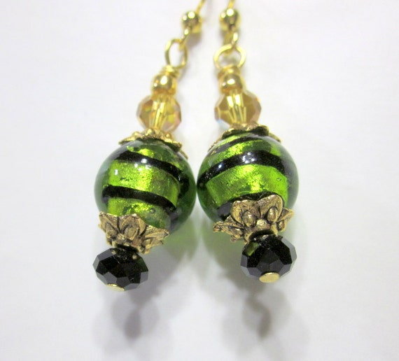 Lime Green Striped Dangle Earrings, Beaded Earrings,  Beadwork Earrings, Beaded Jewelry, Women's Jewelry, Gifts for Her