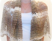 Crochet cotton shawl with flowers, handmade, brown, beige and white