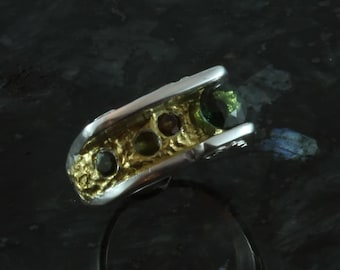 Heartland fine silver and gold ring