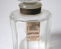 DECO 1930s Le Galion SORTILEGE Paris Faceted Cylindrical French Crystal 1/2 Oz Perfume Bottle with Gold Labels
