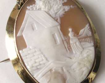 GEORGIAN 1800s Antique Gold Italian Hand Carved Figural Scenic CAMEO Brooch PIN Gold Floral Leaf Bezel Frame Victorian Downton Abbey Titanic