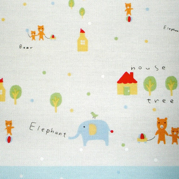 Daiwabo Japan Tip Top Animal  Panel  in Pastel by Fumika Oishi-  Half Yard