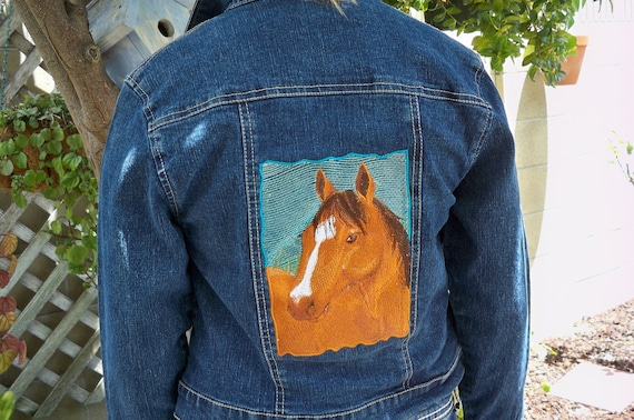Items similar to girls denim jacket embroidered with a