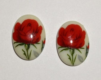 2 Glass Flower Cabochons, 25x18 mm, Red
