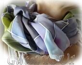 "Scarf. Violet Rose Crepe Satin in Vioelet and Green 87x87cm (35""x35"")"