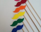 Birthday Party Photo Prop RAINBOW STACHE STICKS (Set of 7 hand cut rainbow stache sticks) Gay Pride Love Wins Wedding