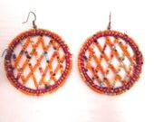 Handmade middle eastern earrings in orange, yellow, blue handpicked beads, gifts for her, punjabi earrings
