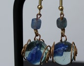 Gold wire wrapped Cornflower Blue Marble Earrings, Gold Dangle Earrings in Cornflower Blue