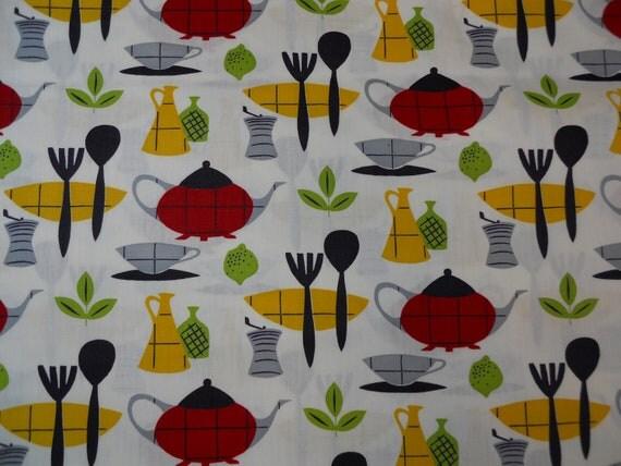 8 yds mid century kitchen cotton fabric, new old stock