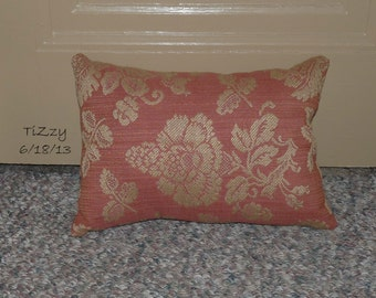"""Red and Tan Floral Decorative Pillow - 11""""x16"""""""