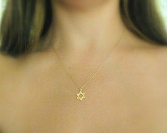 SALE - Star of david Necklace - Jewish star necklace - Gold jewish star - Magen david necklace -  Gold star of david - Jewish jewelry